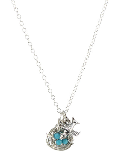 Sterling silver bird and bird nest charm necklace with turquoise eggs