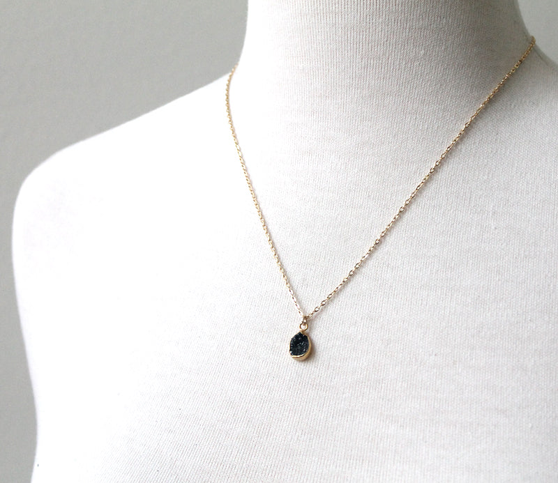 Black Druzy Teardrop pendant by Peggy Li Creations