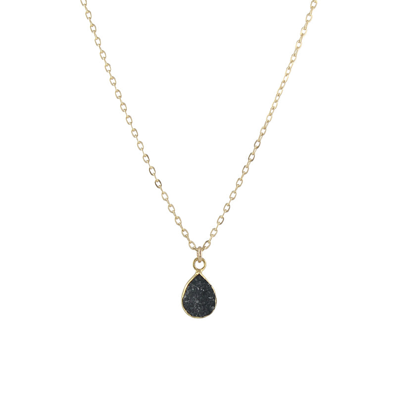 Black Druzy Teardrop Necklace
