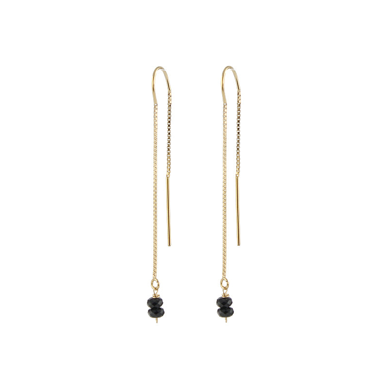Threader Earrings with black spinel