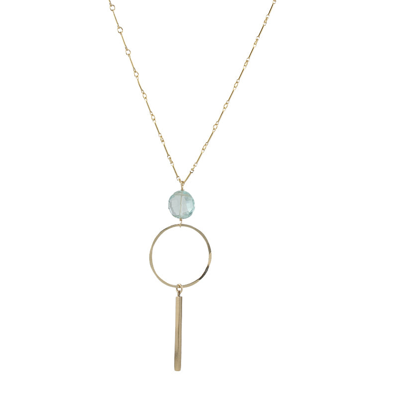 Blue Quartz Bar Necklace