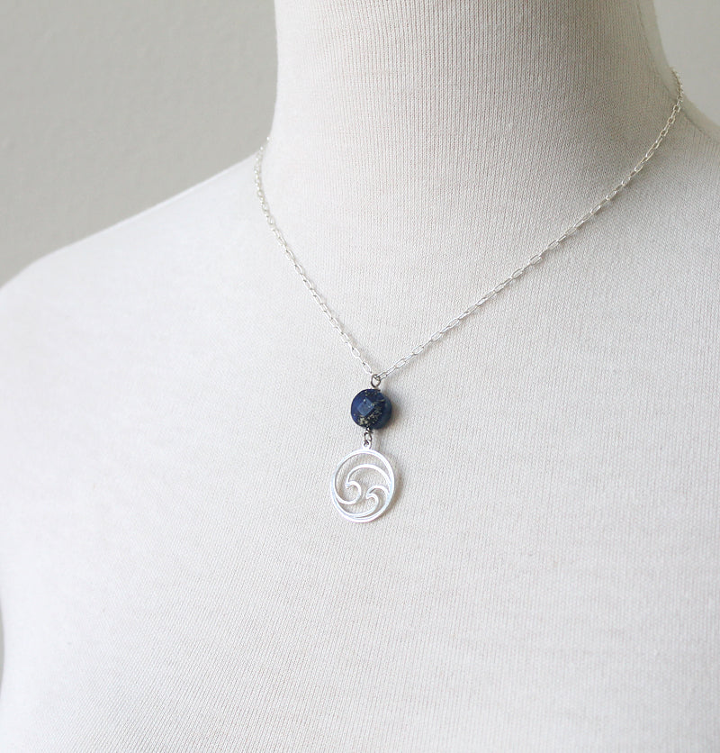 Wave Necklace with Blue Lapis