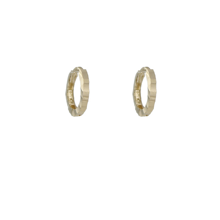 14k Gold Bold Cut Huggie Hoop Earrings