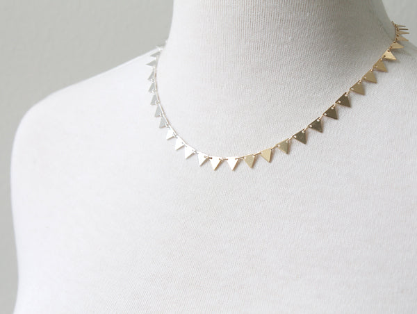 Half silver half gold ombre triangles necklace