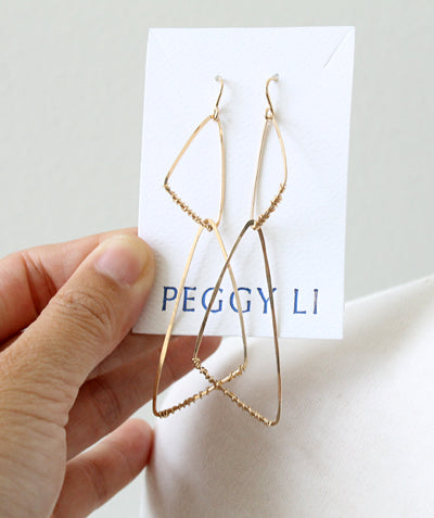 Cornered Geo Earrings, gold