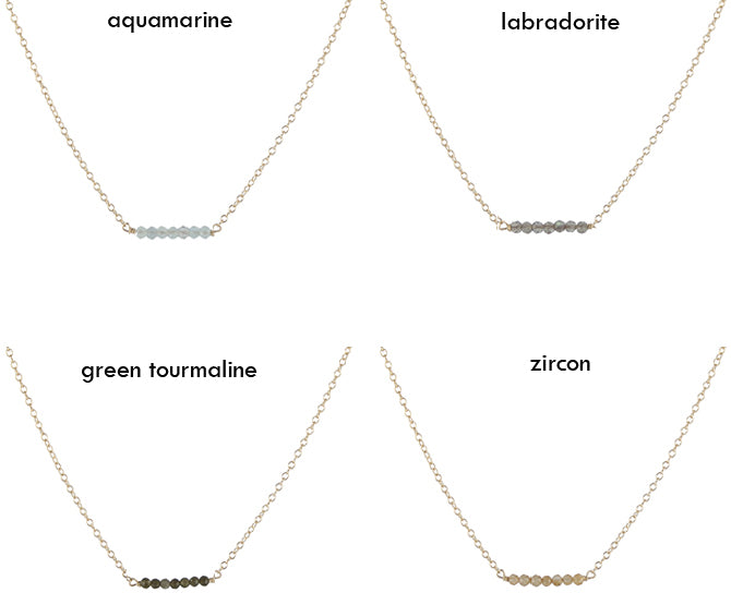 Caviar gem slice necklace length and colors
