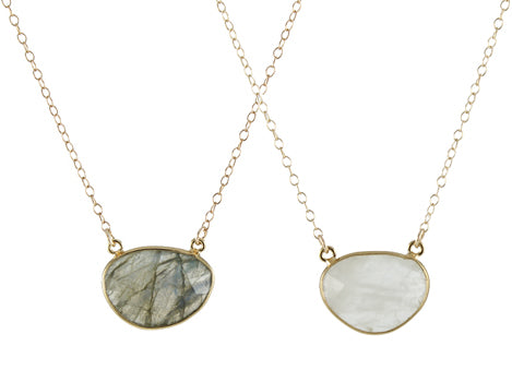 Gem Drop Necklace - labradorite and moonstone