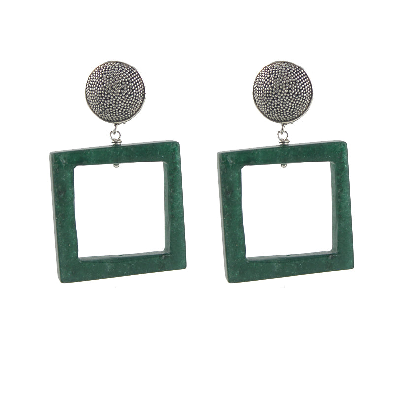 Aventurine Granulation Clip On Earrings