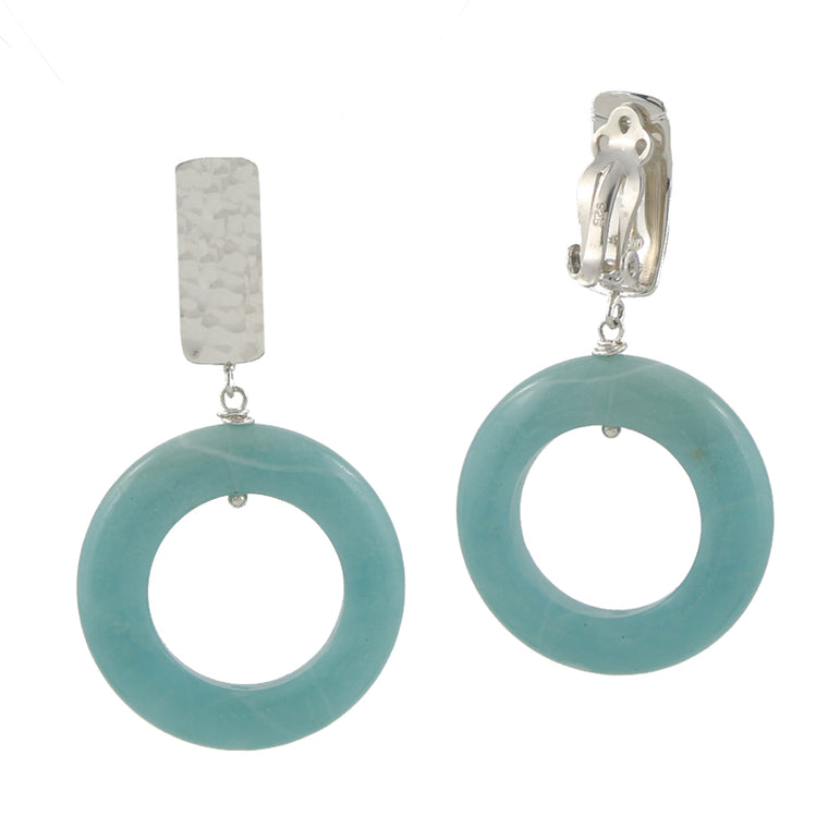 Amazonite O Clip On Earrings
