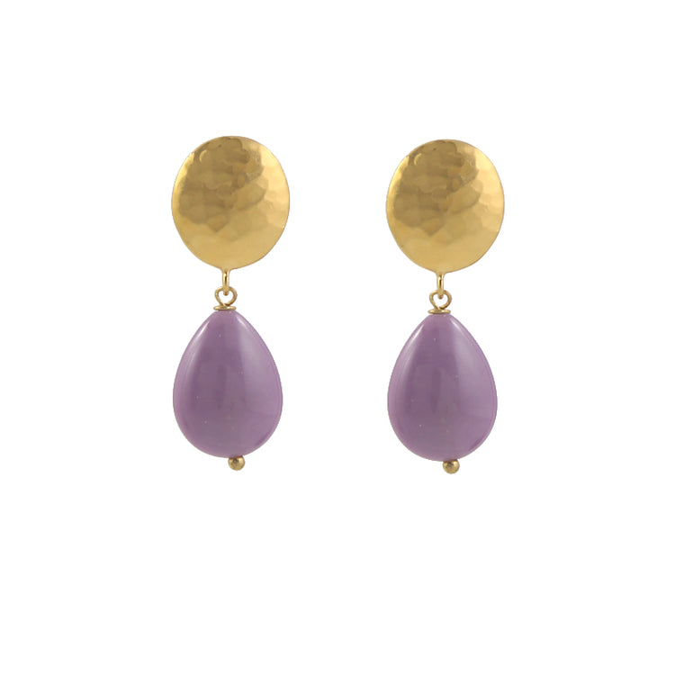 Orchid Stone Clip On Earrings