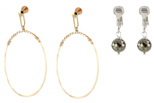 Earrings with clipon earring tops