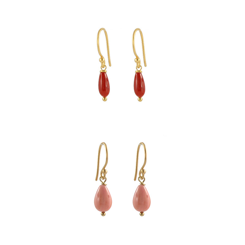 Coral drops earrings