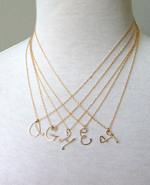 Cursive Initial Charms Necklace