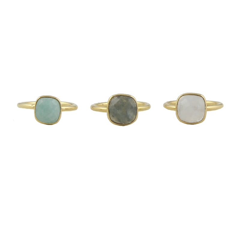 Cushion cut gemstone rings