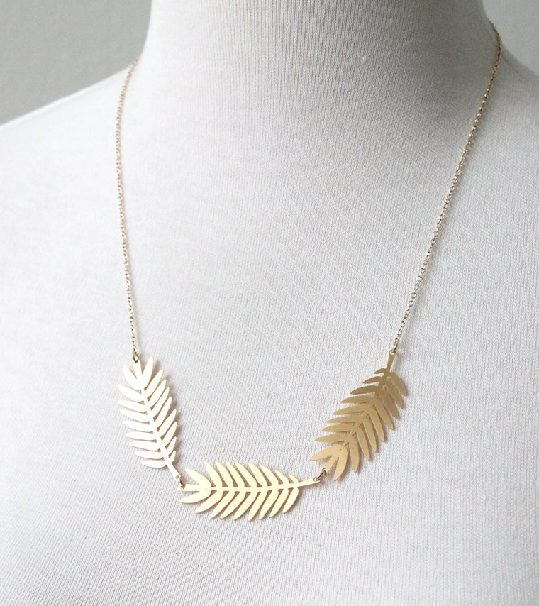 Fern Frond Necklace, gold plate