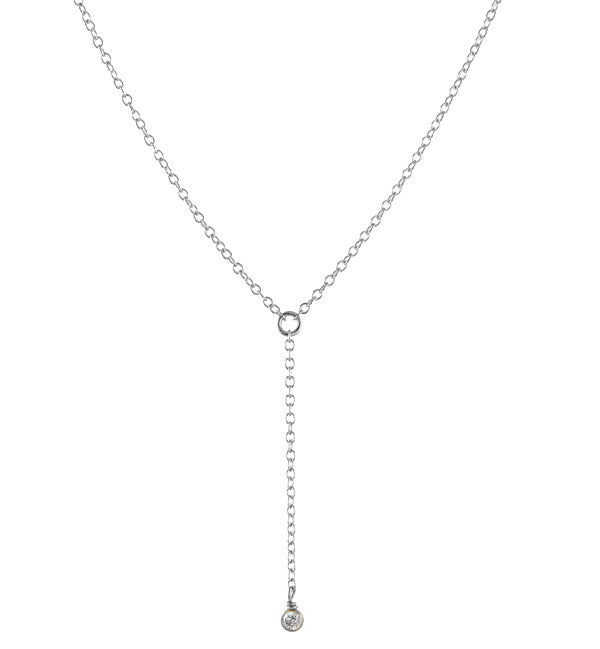 Dainty Y style necklace sterling silver
