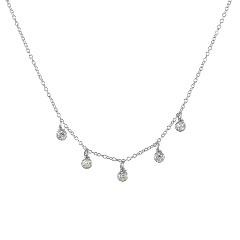 CZ Raindrops Necklace silver