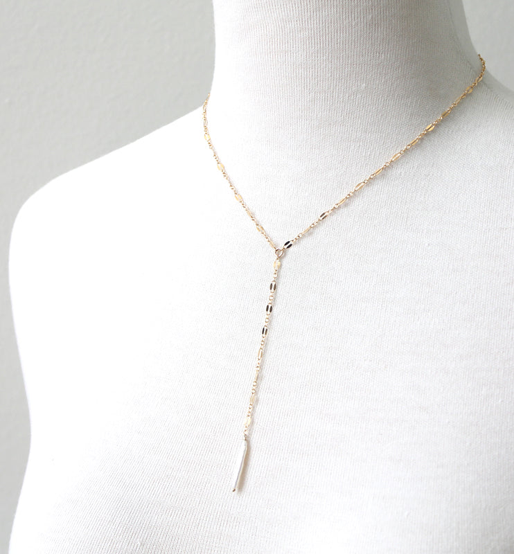 Slim pearl lariat necklace