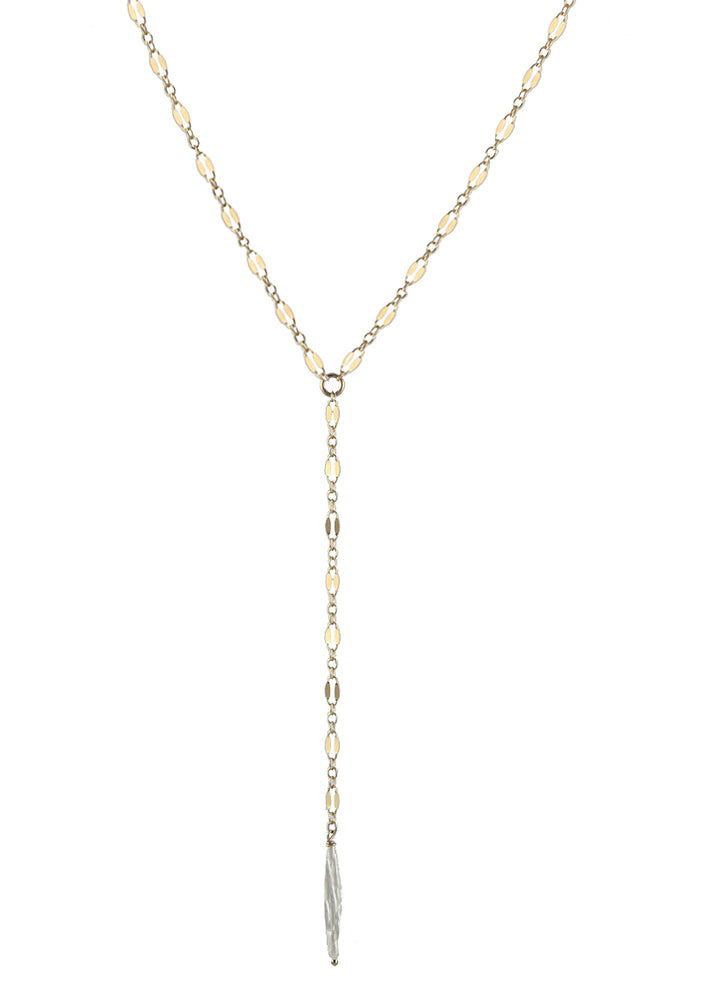 Slim Pearl Lariat Lace Necklace