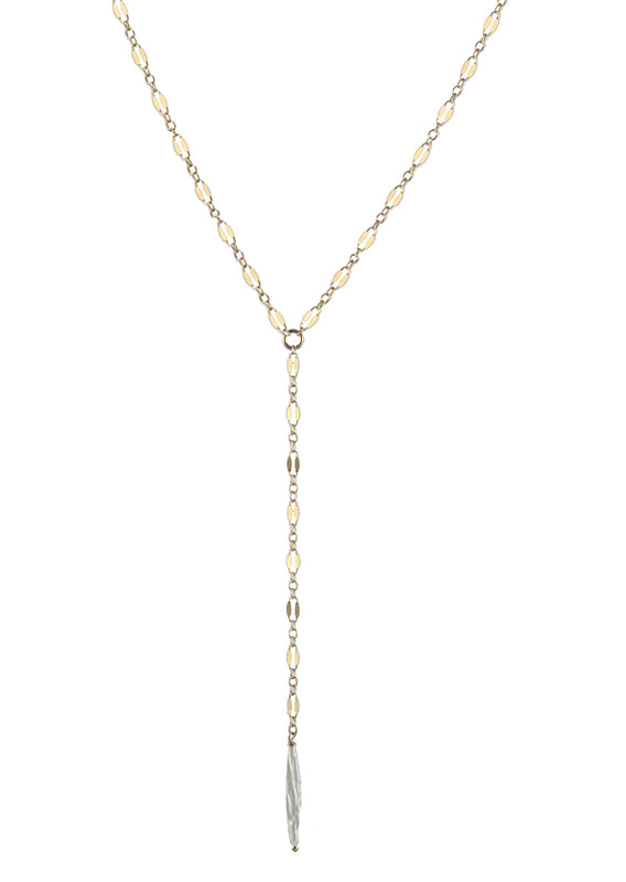 Stick pearl lariat necklace