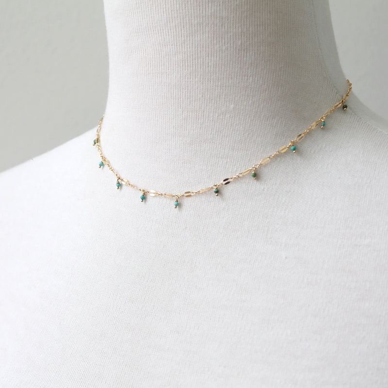Lace chain necklace with turquoise beads
