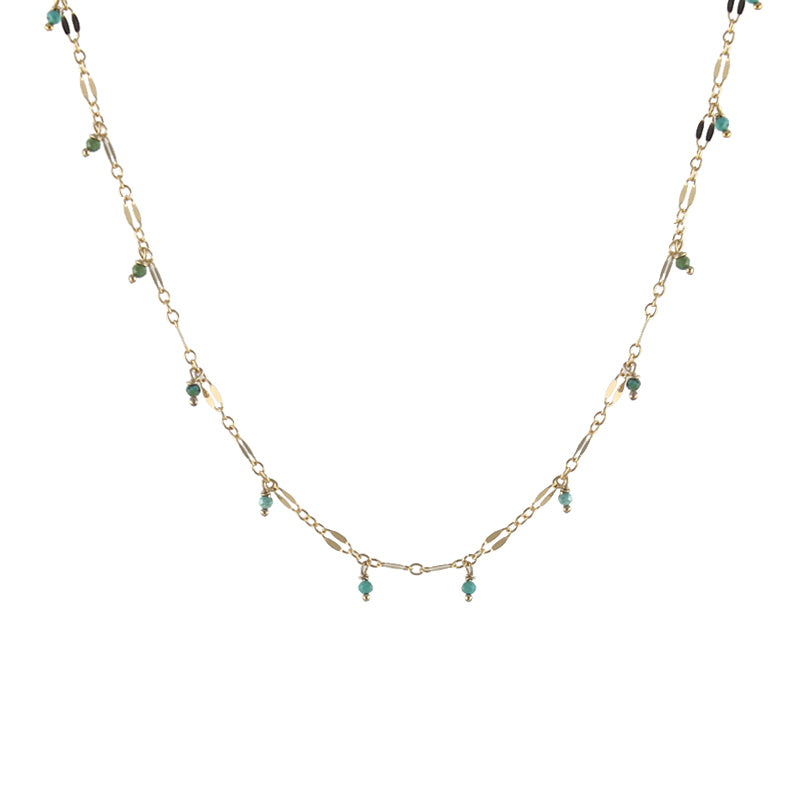 Lace chain necklace with turquoise