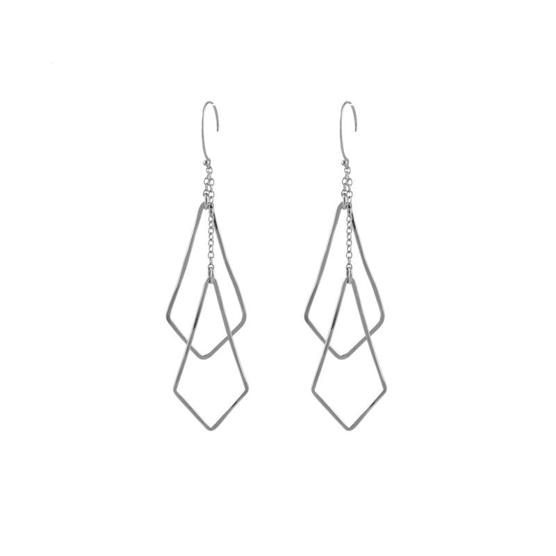 Diamond Shape Chime Earrings silver