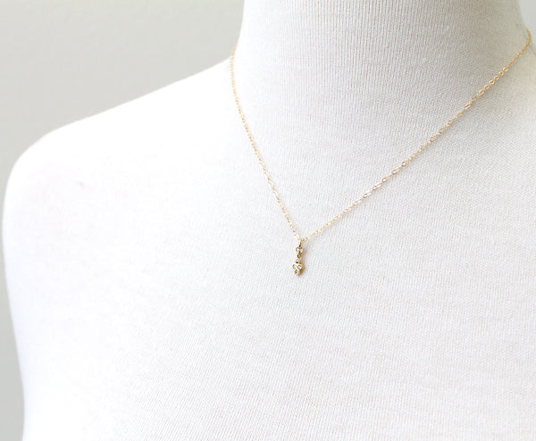 Diamond Clover Necklace - gold