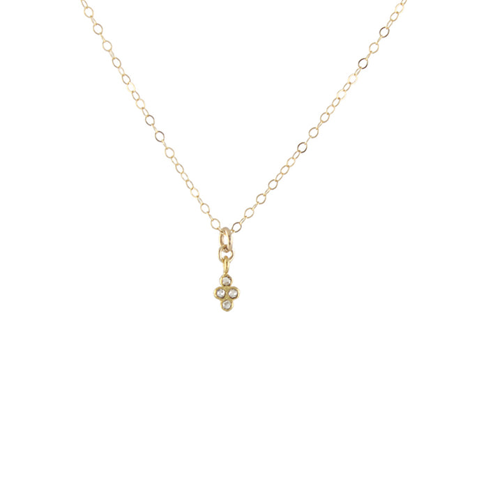 Delicate Diamond Clover Necklace - detail