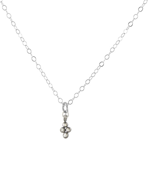 Diamond Clover Necklace - silver