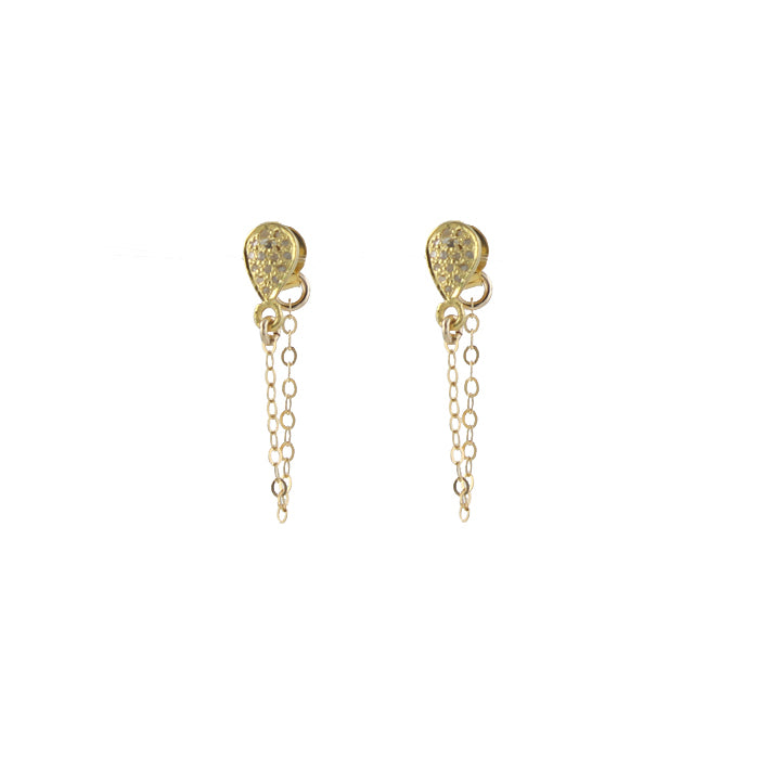 Pave Diamond Draped Earrings, gold