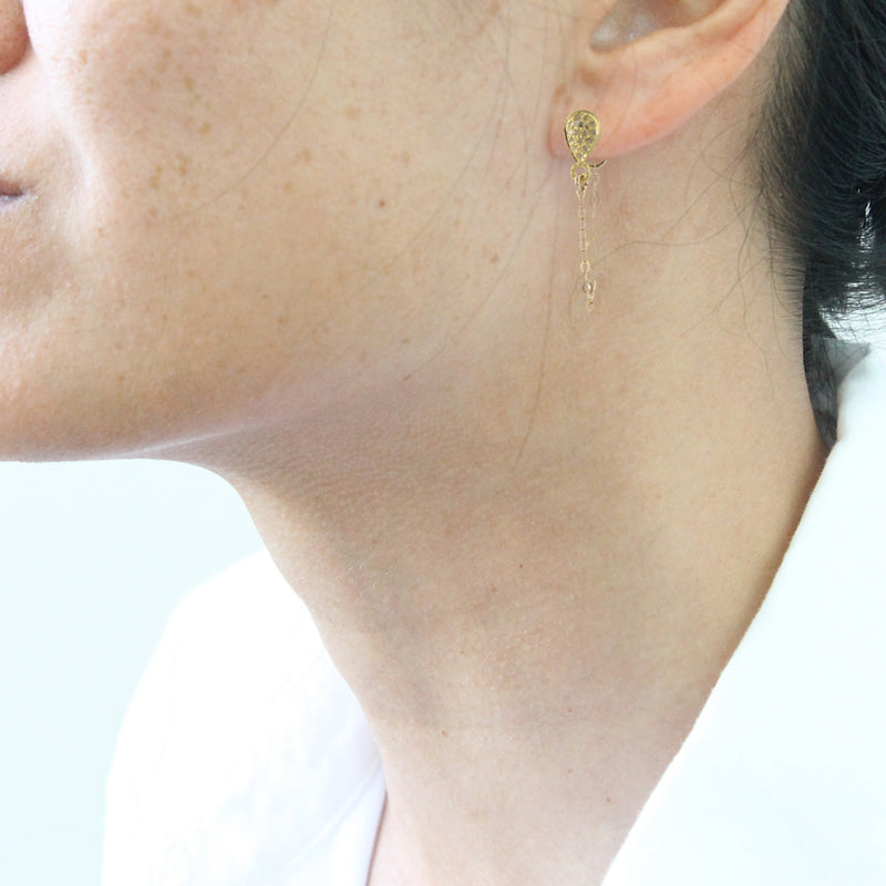 Pave Diamond Draped Earrings, gold by Peggy Li