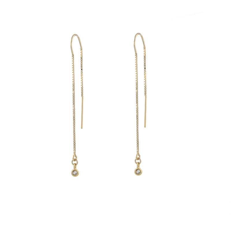 Diamond Threader Earrings, gold