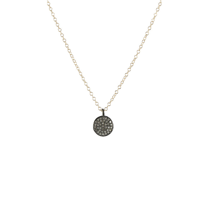 Round Pave Diamond Necklace