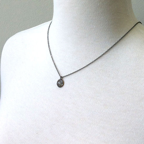 Oxidized silver pave diamond disc necklace