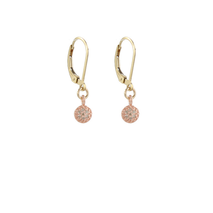 Rose gold plate pave diamond disc earrings