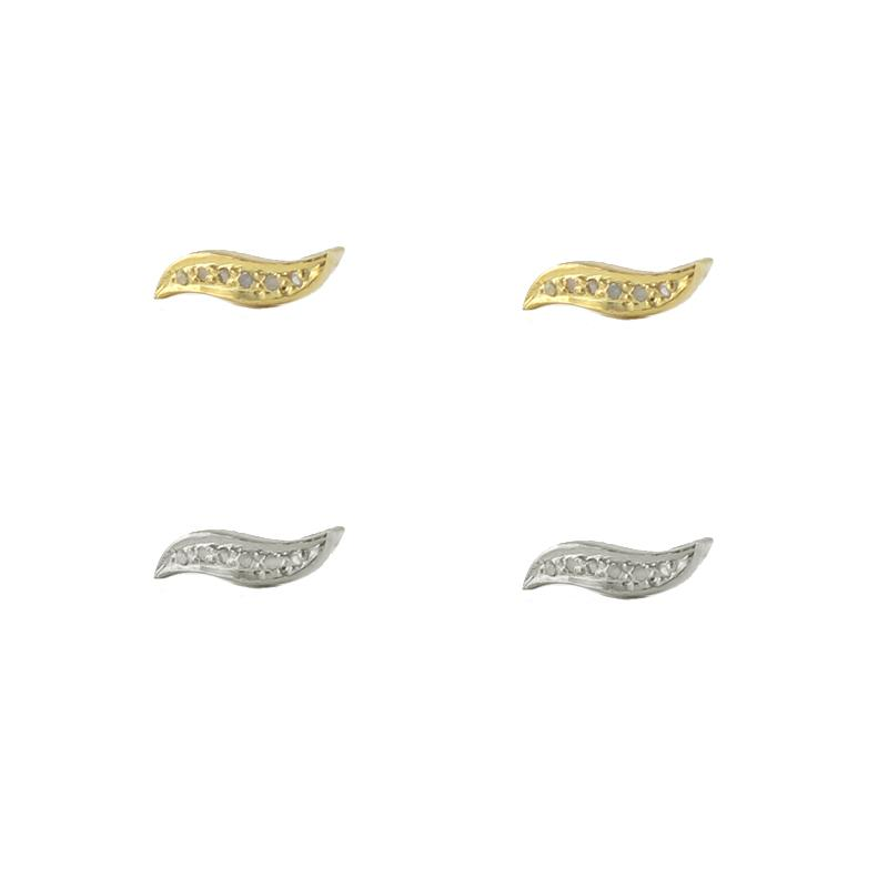 Diamond Wave Stud Earrings