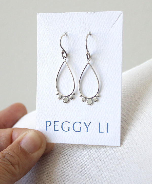 Silver dotted teardrop earrings