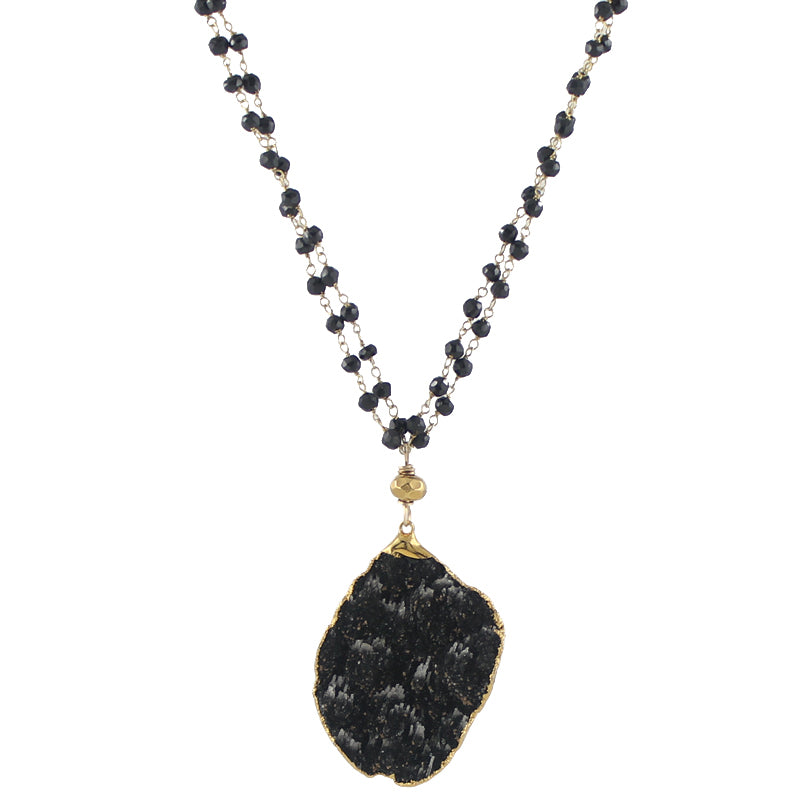 Black druzy pendant necklace