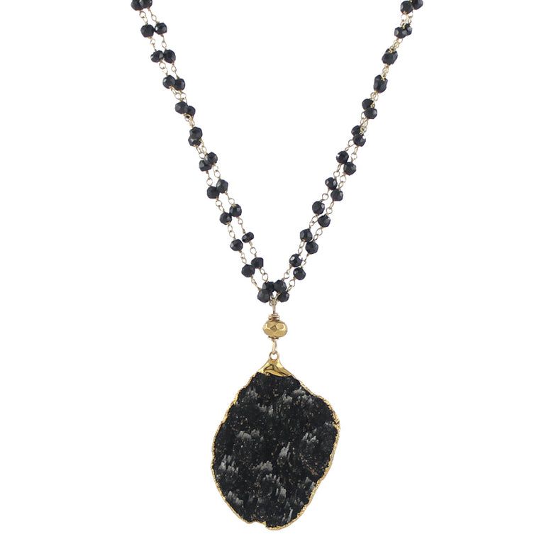 Black Kyanite on Double Chain Necklace