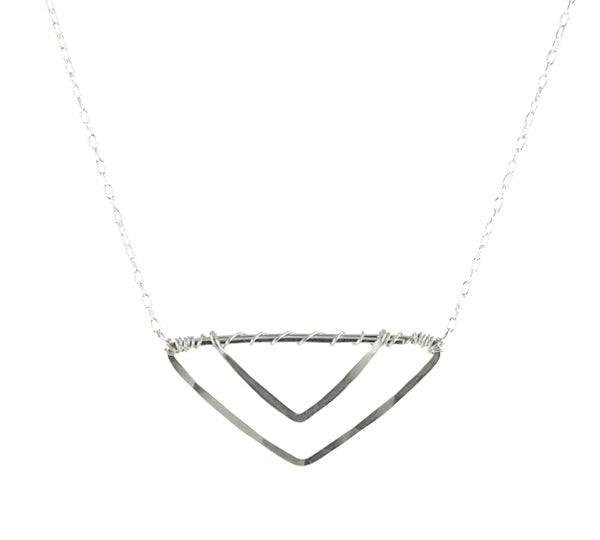Double Vee Necklace, sterling silver