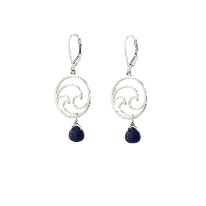 Double wave blue earrings