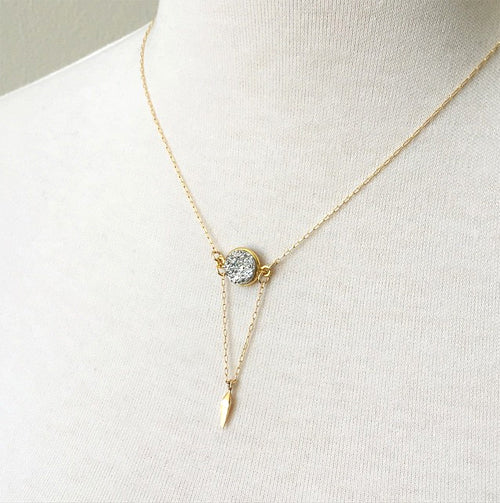 Druzy Point Necklace, silver druzy