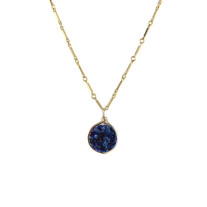 Round Drusy Necklace - blue detail