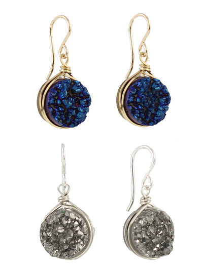 Round Druzy Earring silver and blue detail