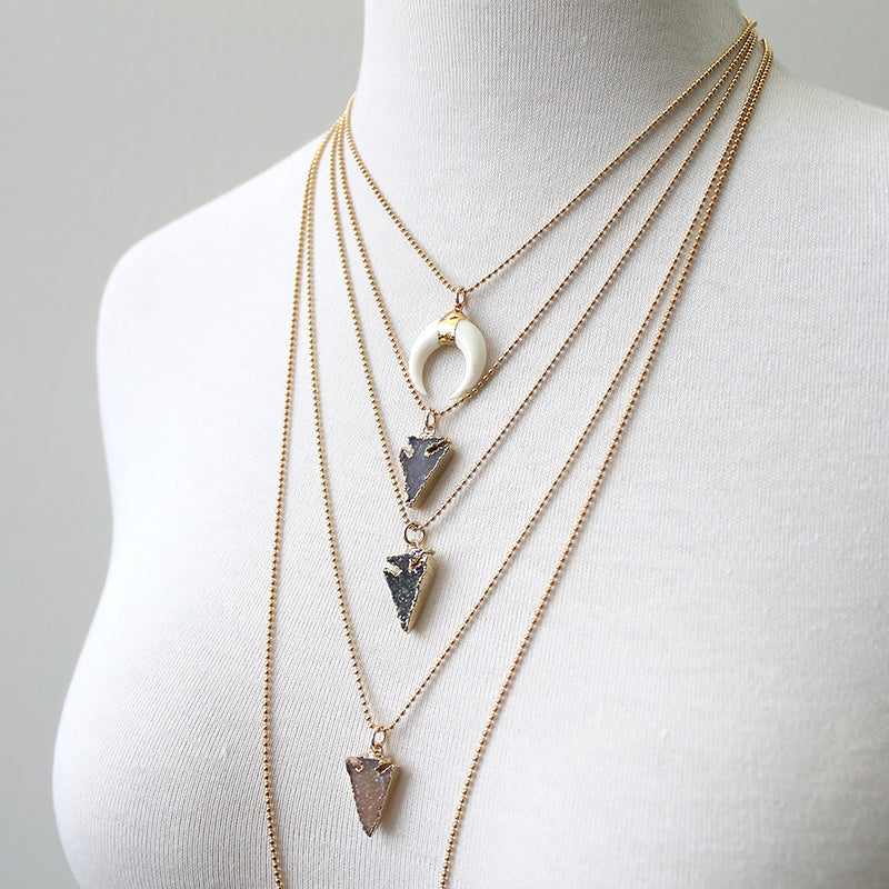 Druzy Arrowhead Necklaces on bead chain
