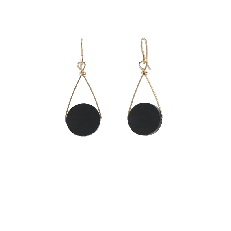 Tiger Ebony Disc Earrings
