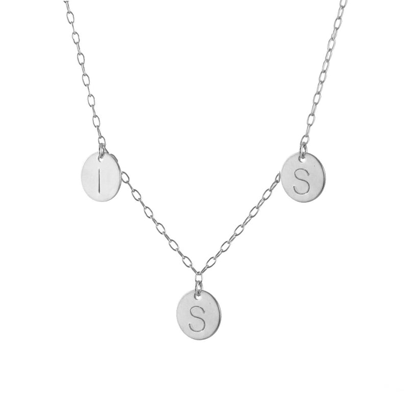 Family Initials Necklace, silver