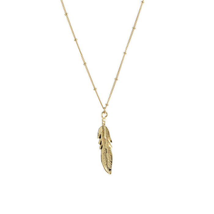 Eagle Feather Necklace, gold detail