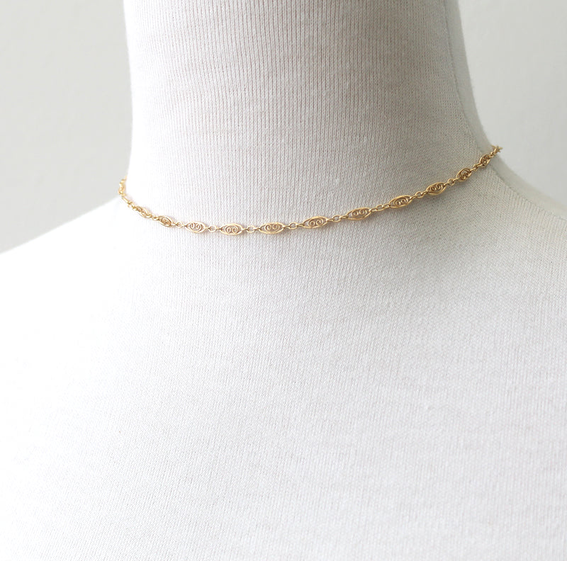 Filigree Chain choker length necklace